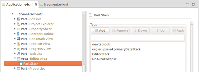 Application.e4xmi Part Stack Tags